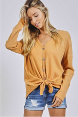KHARMA Waffle Knit Button Down Tie Front Top