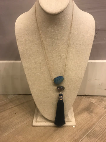 Druzy Stone and Blue Tassel Necklace