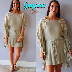 Taupe GUYANA Embroidered Ruffle Caftan Dress