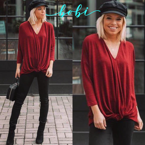 BOBI Red TIDINGS HeatherKnit V-Neck TwistBottom Sweater Top
