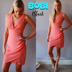 BOBI BLACK Coral BELIZE Crepe WrapHem Dress