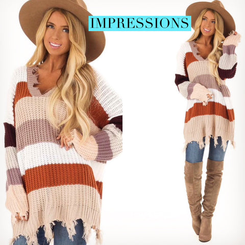 IMPRESSIONS ColorBlock Stripe Distress V-Neck Tunic Sweater Top