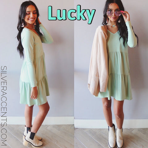 LUCKY Tiered Jersey V-Neck Dress