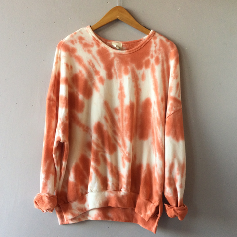 Cade Tie Dye Crew Neck Sweater Orange