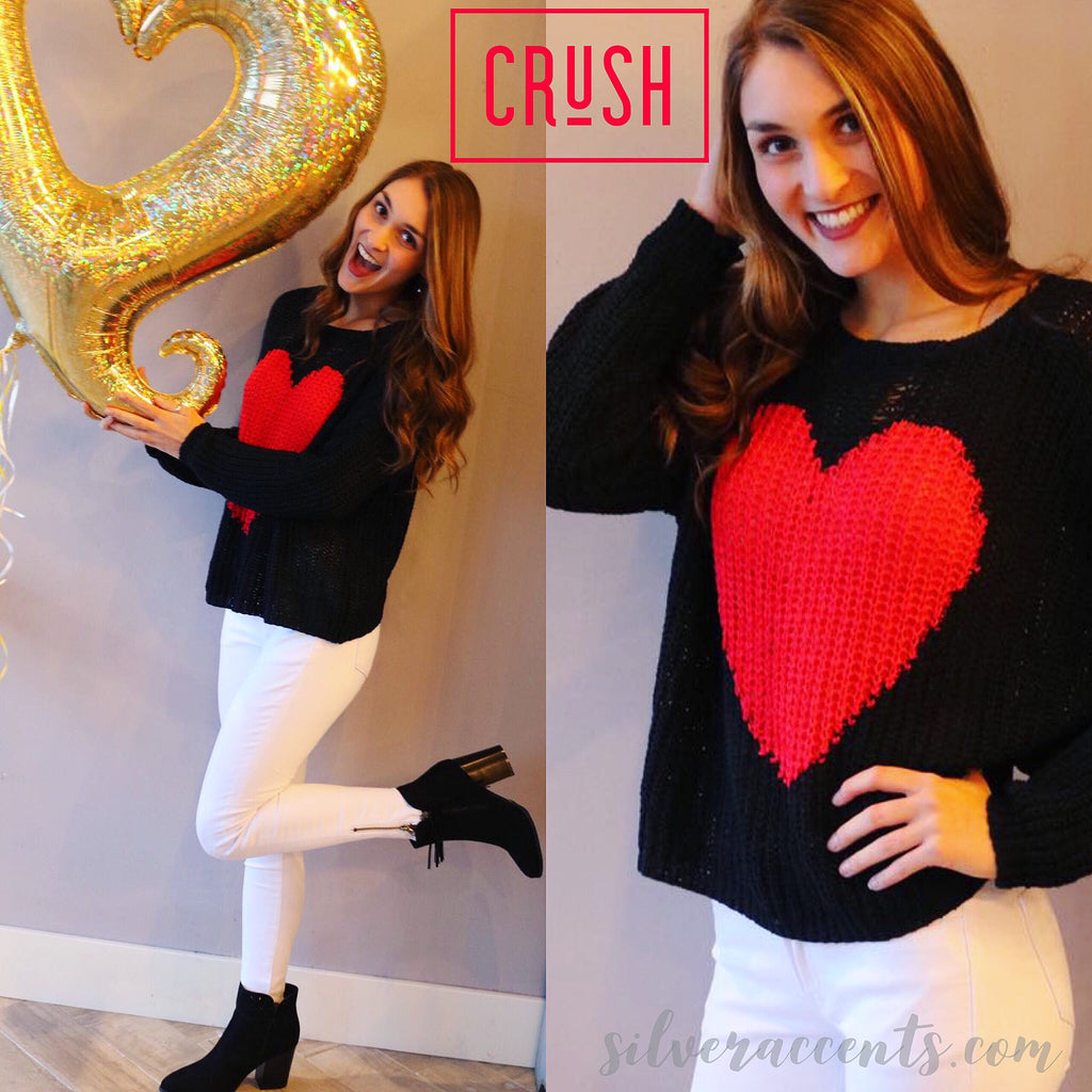CRUSH Heart DropShoulder CrewNeck Sweater Top