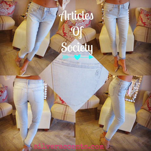 ARTICLES OF SOCIETY Frayhem TOPAZ BLUE Carly Ankle Crop Skinny Jean