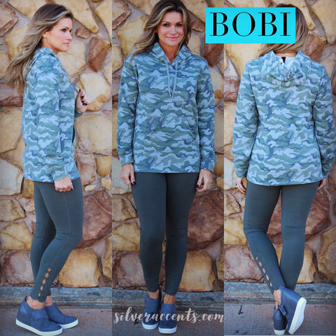 BOBI Green REMINGTON Camo Print Kanga Pocket Hoodie Top