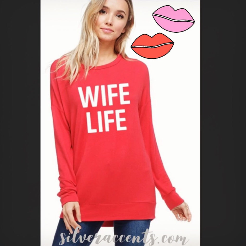 WIFE LIFE Graphic LongSleeve CrewNeck Top