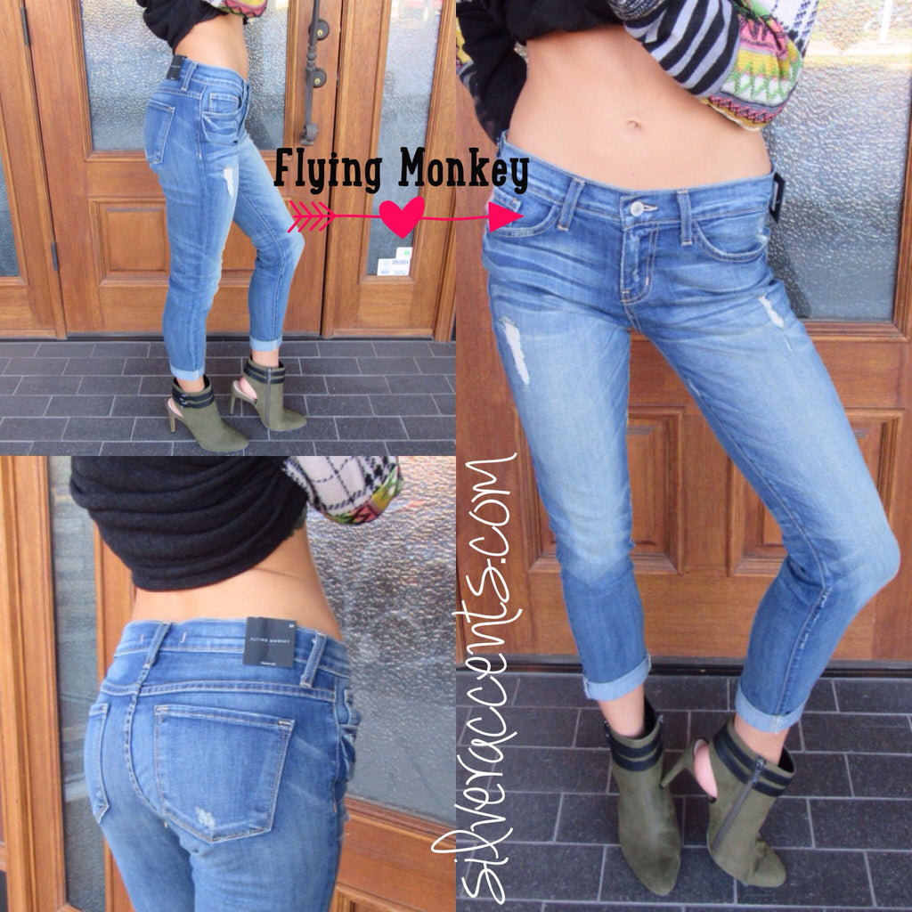 FLYING MONKEY Distress HAND WASHED Boyfriend Jeans