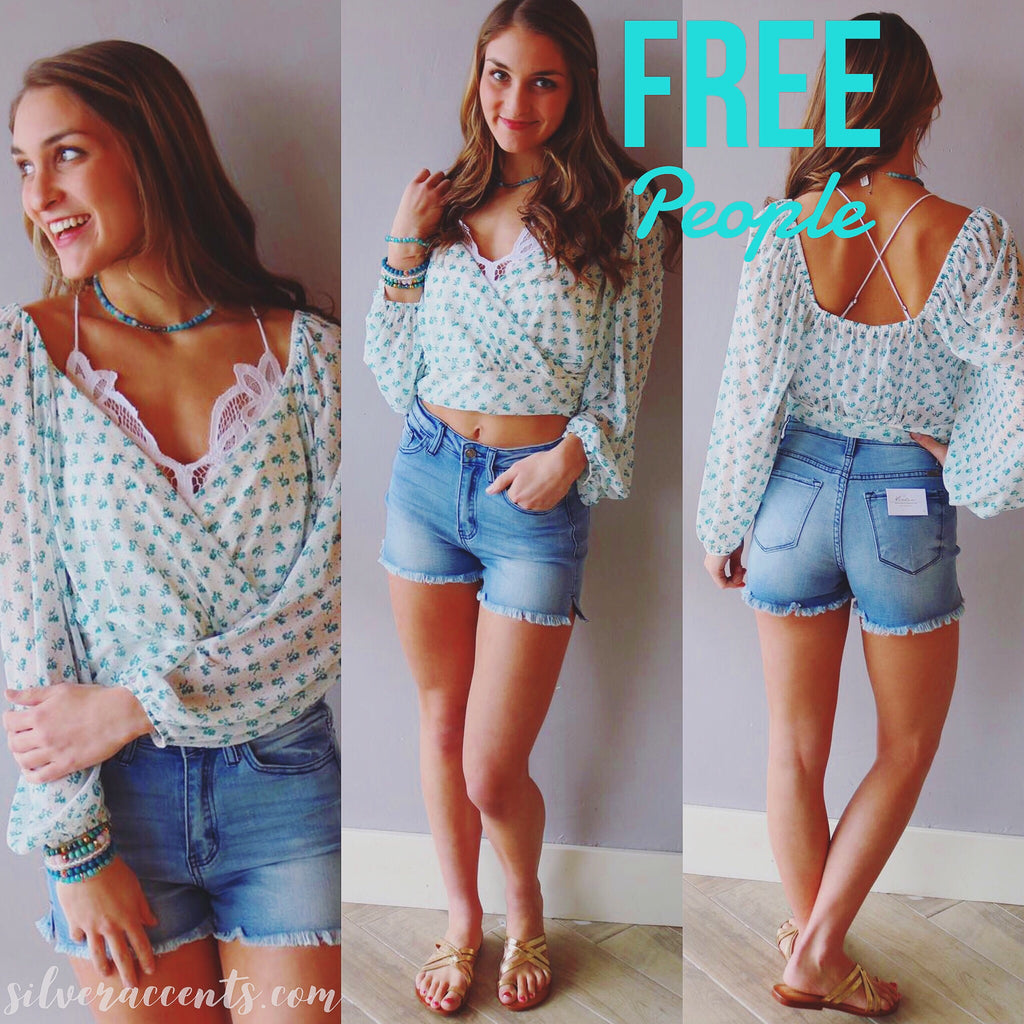 FREE PEOPLE Cream Combo SWEETIE PIE Floral CrossOver Chiffon WaistLength Top