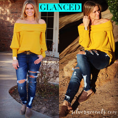 GLANCED FoldOver Off Shoulder BlousonSleeve WaffleKnit Top