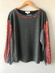NOBLE Print Drop Sleeve Knit Sweater Top
