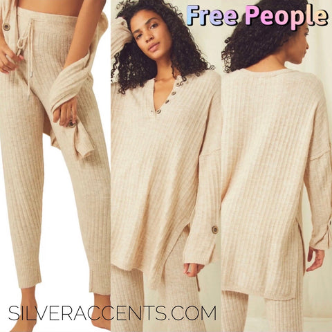 FREE PEOPLE RibKnit AROUND THE CLOCK Pullover Top