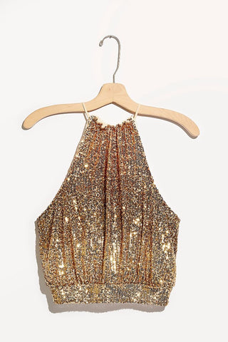 FREEPEOPLE Sequin LIGHTS OUTS Halter Top