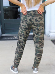 BOBI SAVAGE Text Print Camo Jogger Pants