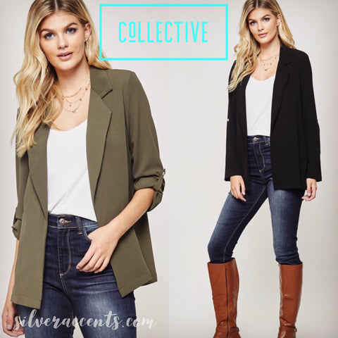COLLECTIVE RollSleeve Boyfriend Blazer Jacket