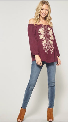 SWITZER Embroidered Off Shoulder Top