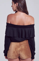 EASE Ruffled OffShoulder TerryKnit Top