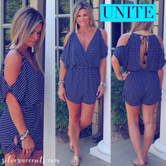 UNITED Stripe ColdShoulder Rouched TieHem/Waist Short Romper