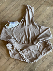 BOBI Cozy HeatherKnit SCANDAL Crop Hoodie Top