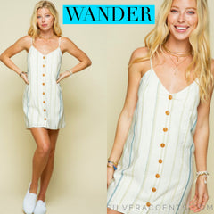 WANDER Stripe ButtonDown TieBack Cami Dress
