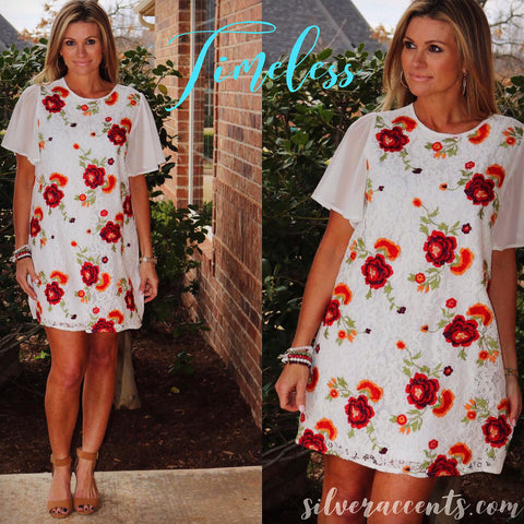 TIMELESS Floral Embroidered ShortSleeve Lace Shift Dress