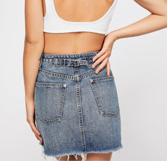 FREE PEOPLE A-Line RUGGED Denim Skirt