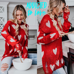 ADDICTED TO LOVE Heart Print Distressed Slub Sweater Top