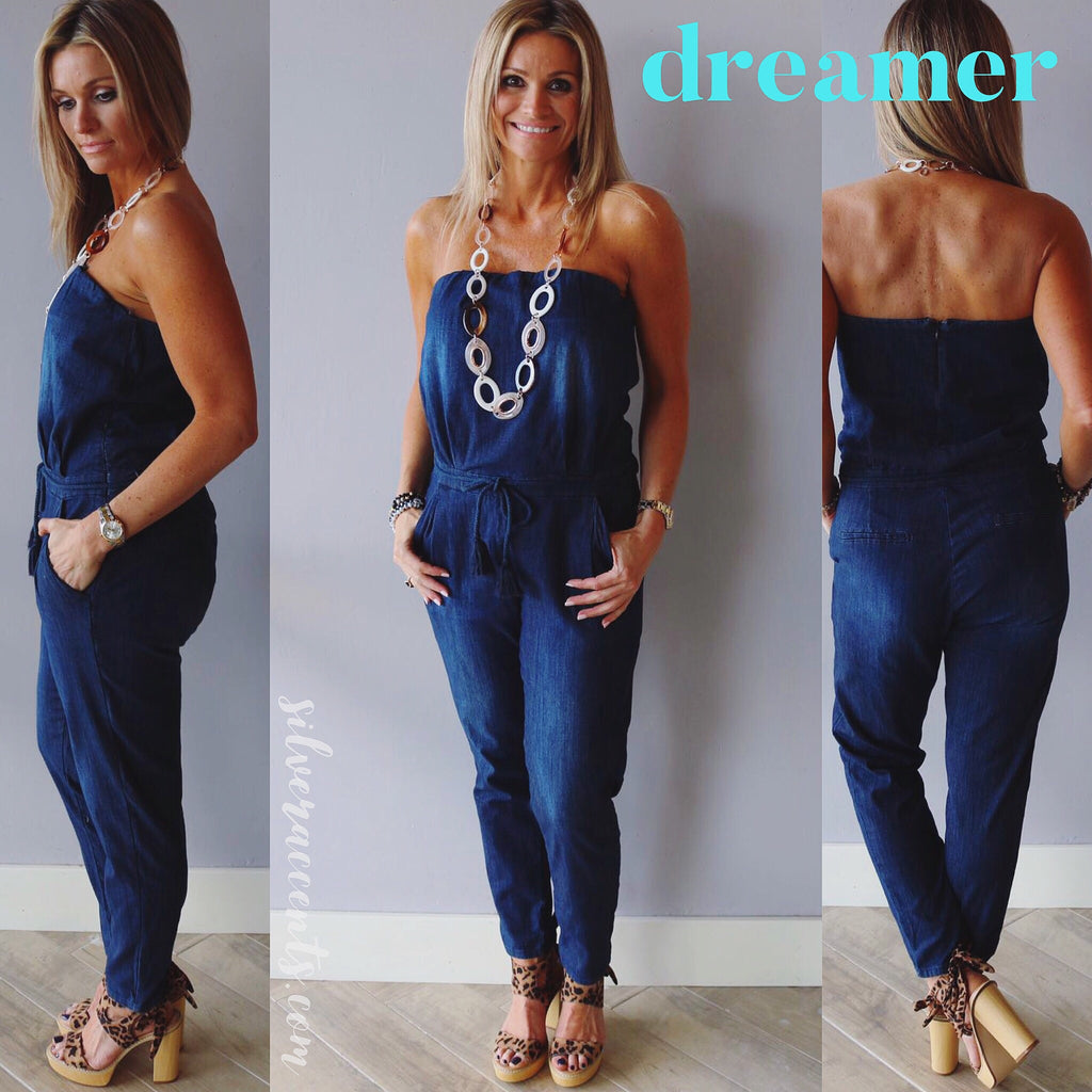 DREAMER Dark Blue Denim Strapless TieWaist Jumpsuit Pant Romper