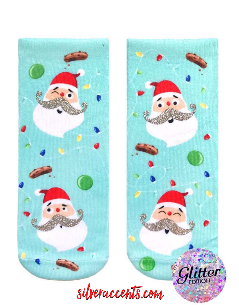 LIVING ROYAL Glitter JOLLY ST. NICK Ankle Socks
