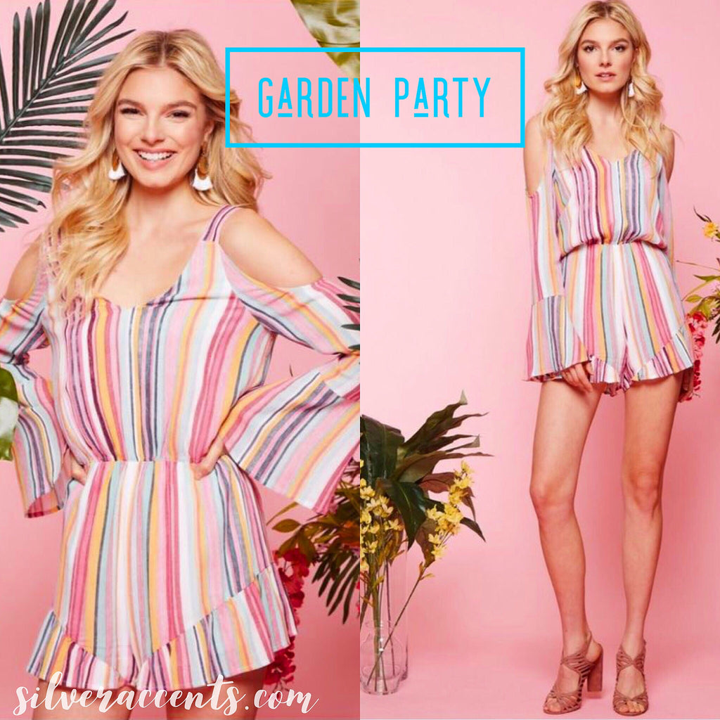 GARDEN PARTY Stripe ColdShoulder BellSleeve Short Romper