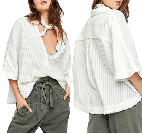 FREE PEOPLE Tonal Stripe THE AVA Fray~Hem Top