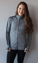 HANDS DOWN Mesh Panel ThumbHole Marled Athleisure Jacket