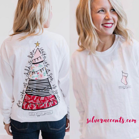 CALAMITY JANE Comfort Colors MIX PATTERN CHRISTMAS TREE LongSleeve Tee Top