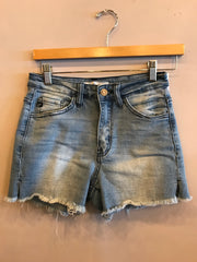 ALLURE Mid Rise Frayhem Denim Shorts