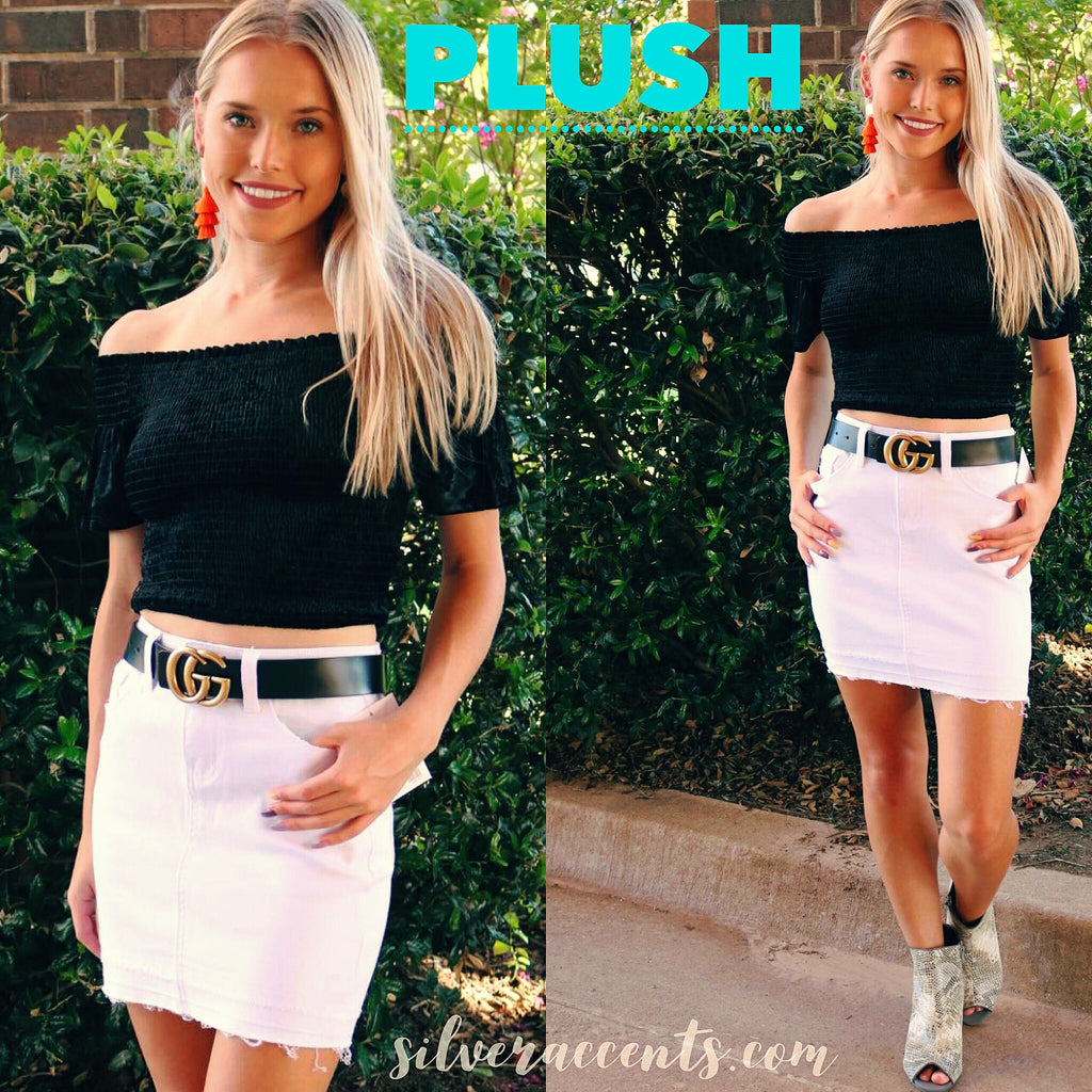 PLUSH Crushed Velvet Off Shoulder Smock WaistCrop Top