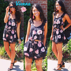 VIENNA Two Piece Floral Lace Trim Cami/Short Set