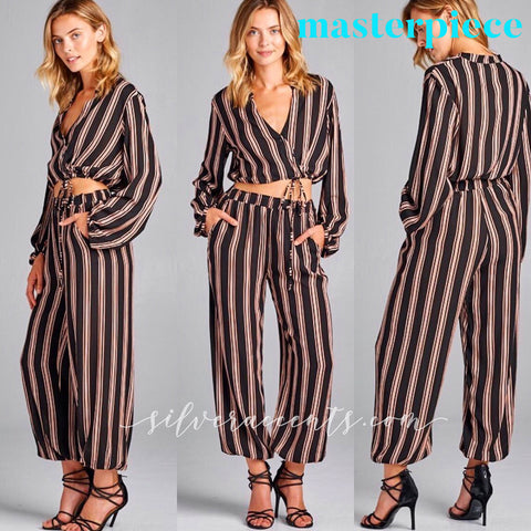 MASTERPIECE 2pc Stripe TieBottom/Jogger Pant Set
