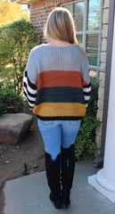 SOPHIE Striped Contrast Sleeve Sweater Top