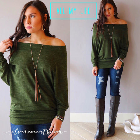 ALL MY LIFE Off Shoulder Tunic Sweater Top