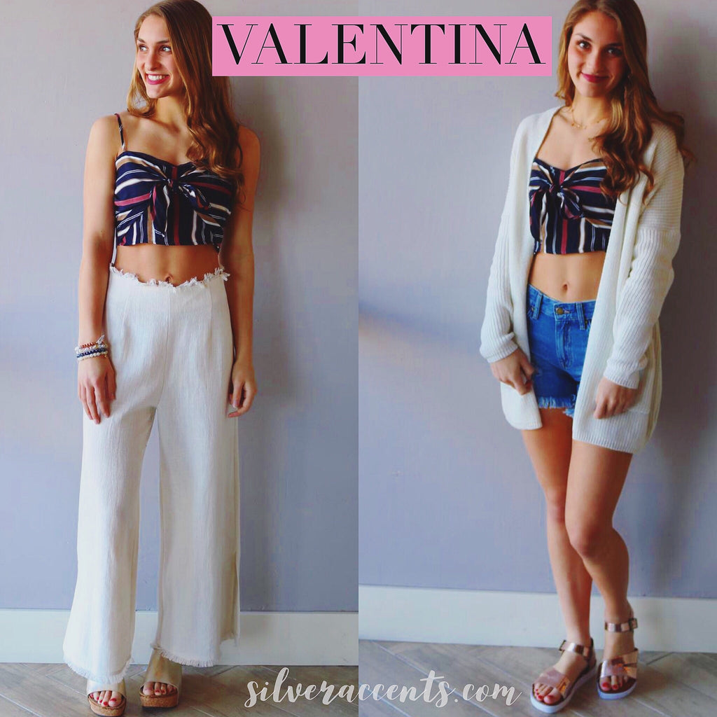 VALENTINA Stripe SweetHeart Neck TieFront Crop Cami Top