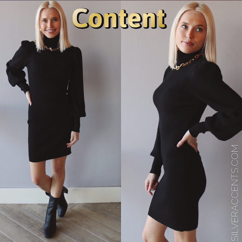 CONTENT TurtleNeck PuffSleeve RibKnit Sweater Dress
