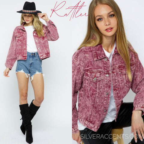 RATTLER MineralWash Distressed Denim WaistCrop Jacket
