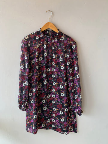 BOBI BLACK Floral OLSEN Smock Neck Dress