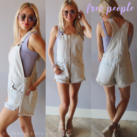 FREE PEOPLE White SUNKISSED Denim Shortall Romper