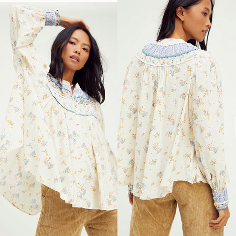 FREE PEOPLE Floral PALOMA ButtonDown Pleated Yoke Top