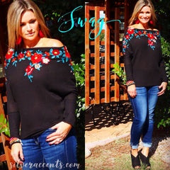 SWAG Embroidered Floral Dolman Sleeve Thermal Knit Tunic Top