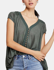 FREE PEOPLE Army HIGHLAND ButtonFront Smocked HiLo Tee Top
