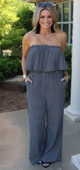 INCLUSION Stripe Ruffled OffShoulder Jumpsuit Pant Romper