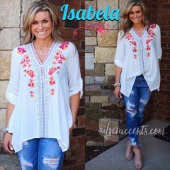 ISABELA Embroidered Floral V-Neck Henley RollSleeve Top